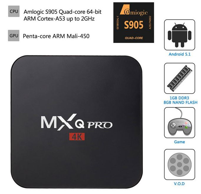 MXQ PRO 4K Quad Core Android 5.1 Smart TV Box