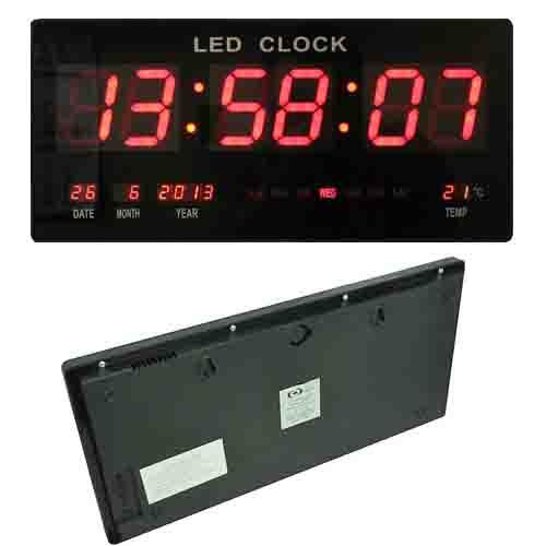 Large Digital Wall Clock Date Temperature