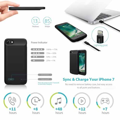 free shipping 8d0a3 bf593 ROMOSS iPhone 7 Battery Case Ultra Slim Extended 2800mAh
